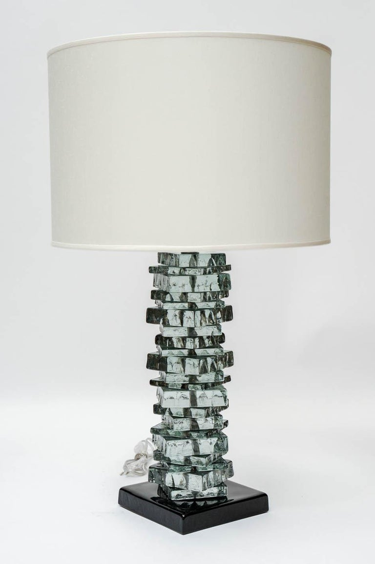 Mid-Century Modern Pair of Rough Cut Edges Murano Glass Table Lamps For Sale