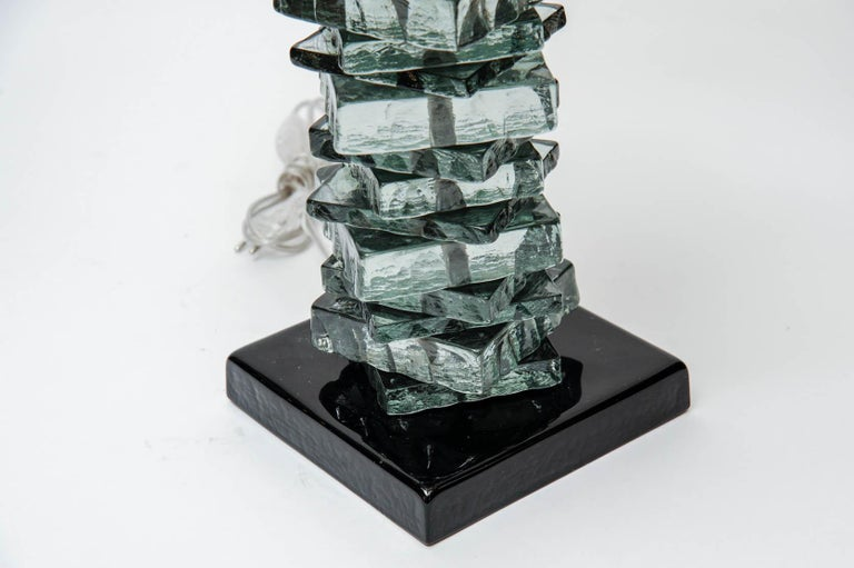 Pair of Rough Cut Edges Murano Glass Table Lamps In Good Condition For Sale In Saint-Ouen, IDF