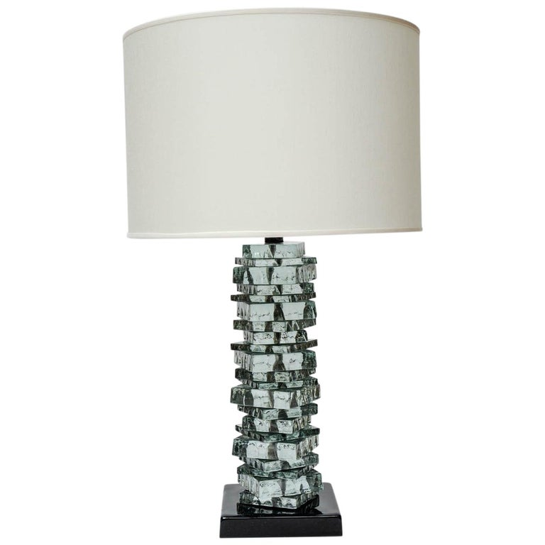 Pair of Rough Cut Edges Murano Glass Table Lamps For Sale