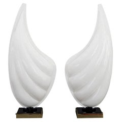 Pair of Rougier White Resin Shell with Black and Brass Base Table Lamps