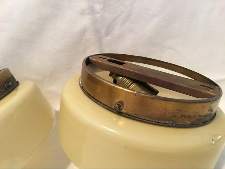 Pair of Round 1930s Art Deco Bauhaus Sconces Flushmount For Sale 1