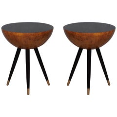 Pair of Round and Flat Poplar Wood and Brass Italian Side Table, 1930