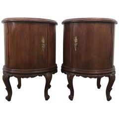 Pair of Round Art Deco Walnut Nightstands with Door and One Hidden Drawer
