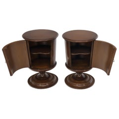 Pair of Round Barrel Shape One Door Compartment End tables Night Stands
