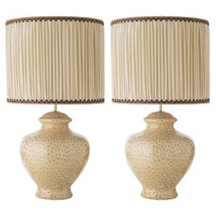 Pair of Round Bellied Ceramic Table Lamps