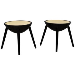 Pair of Round Black and Goat Skin Italian Art Deco Side Tables, 1940