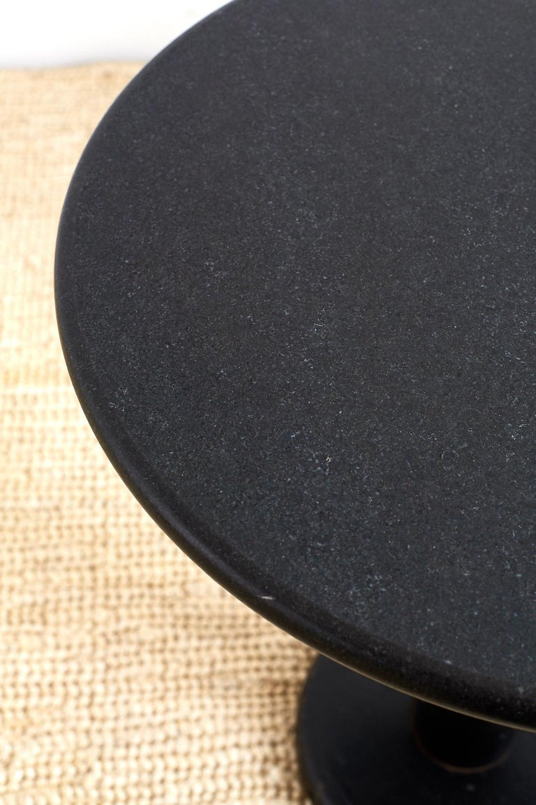 Pair of Round Black Granite Drinks Tables For Sale 3