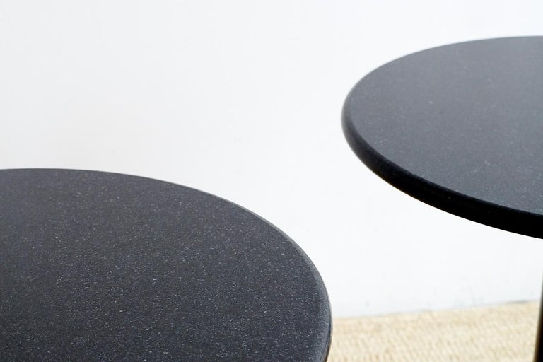 Pair of Round Black Granite Drinks Tables For Sale 4