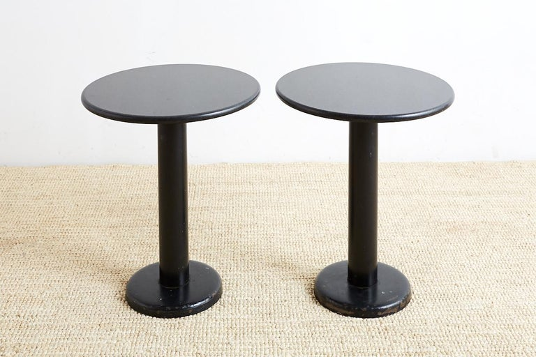 Pair of Round Black Granite Drinks Tables For Sale 5