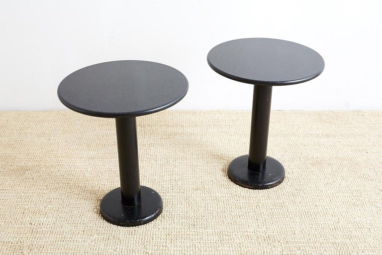 Mid-Century Modern Pair of Round Black Granite Drinks Tables For Sale