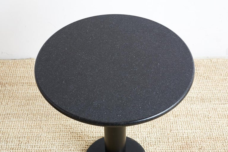 American Pair of Round Black Granite Drinks Tables For Sale