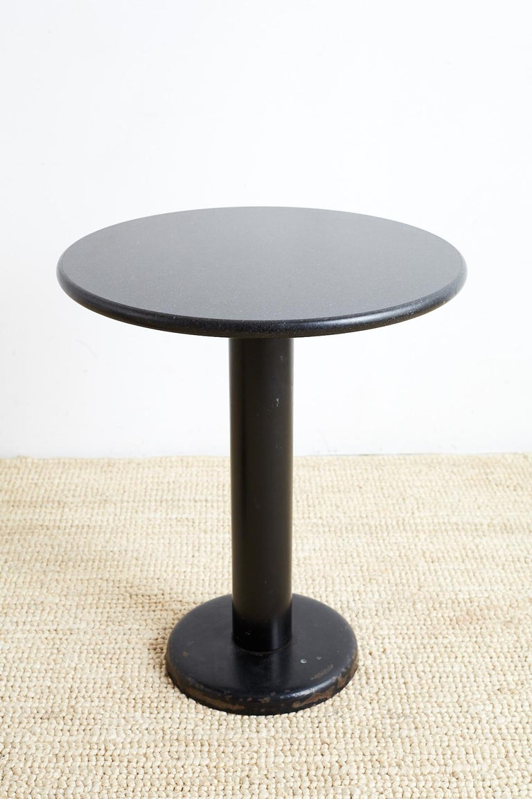 Pair of Round Black Granite Drinks Tables In Good Condition For Sale In Oakland, CA