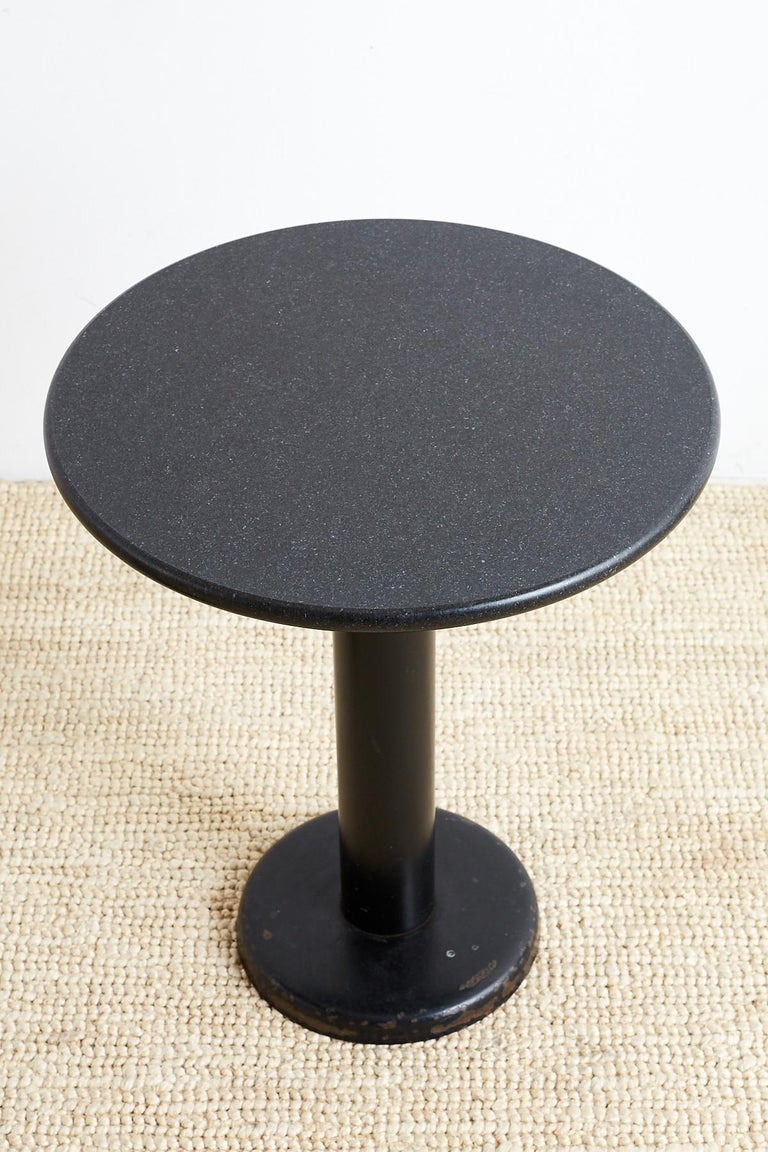 Iron Pair of Round Black Granite Drinks Tables For Sale