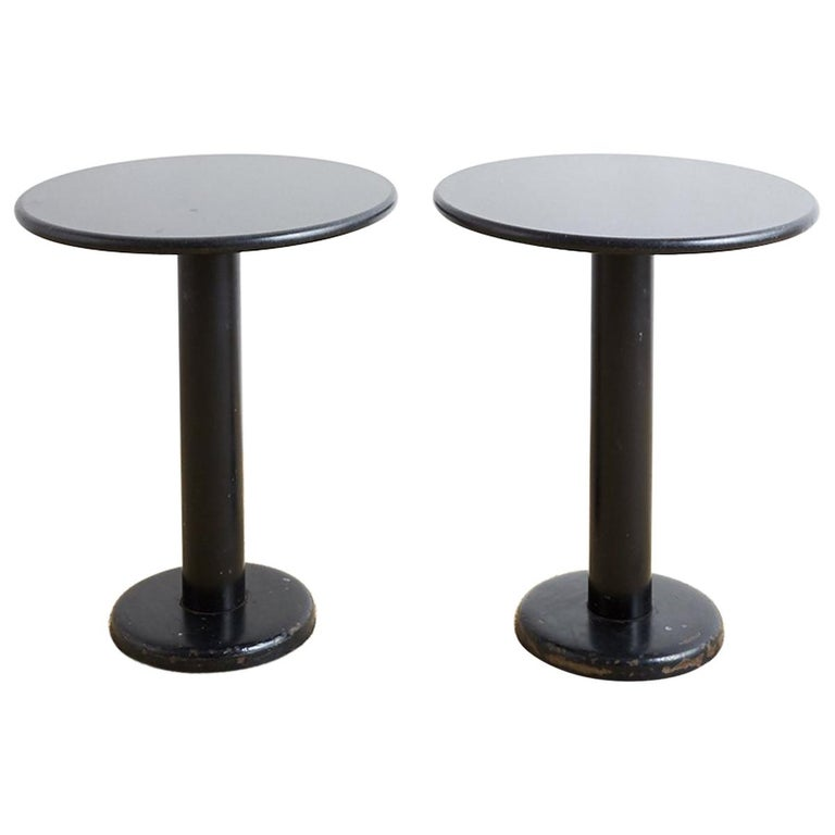 Pair of Round Black Granite Drinks Tables For Sale