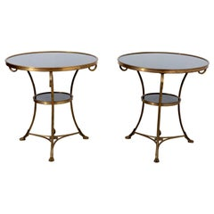 Pair of Round Black Marble-Top Gueridon Tables