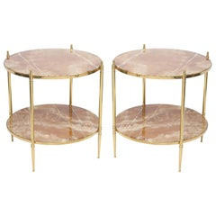 Pair of Round Brass End Tables with Onyx Tops