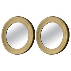 Pair of Round Brass Mirrors by Glasmaster, Markaryd, Sweden, 1960s
