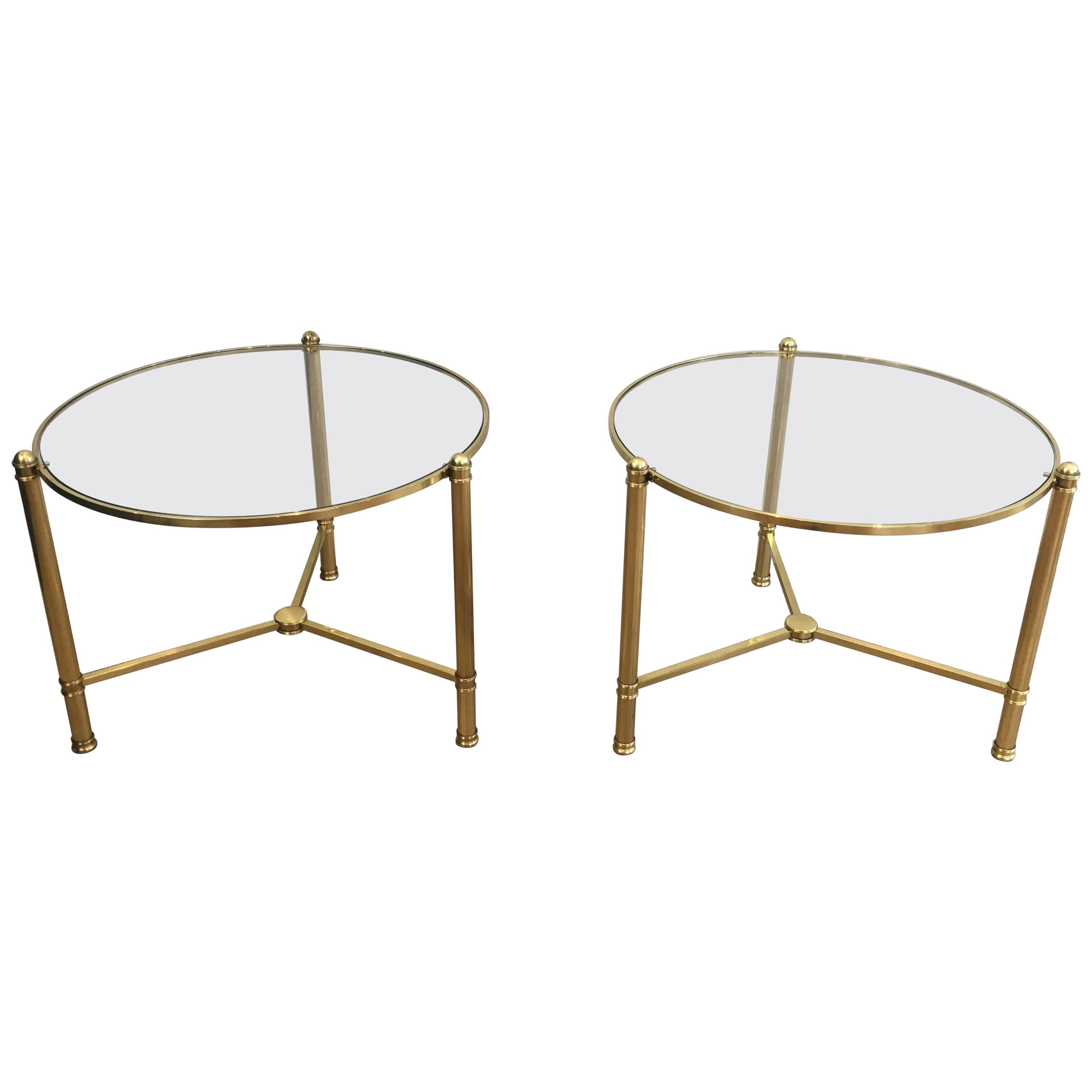 Pair of Round Brass Side Tables, French, circa 1970