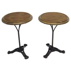 Pair of Round Brass Tops Cast Iron Tripod Bases End Side Tables