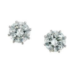 DeBeers Certified Round Brilliant-Cut Diamond Stud Earrings