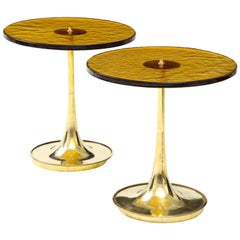 Pair of Round Bronze Murano Glass and Brass Martini or Side Tables, Italy, 2021
