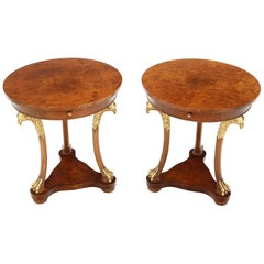 Pair of Round Burl Wood French Empire Gold Gilt Carved Eagles Stands End Tables