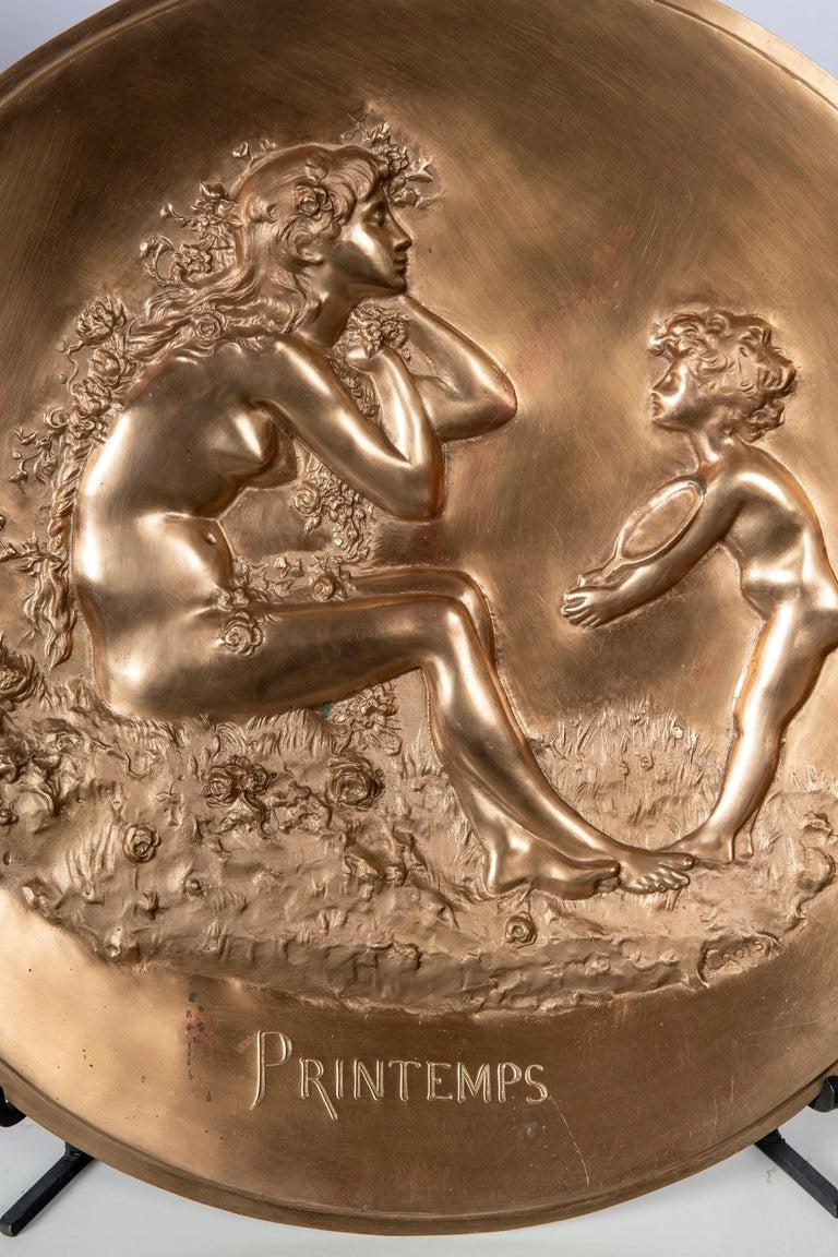 Art Nouveau Pair of Round Cast Bronze Plaques by Aristide Croisy, France For Sale