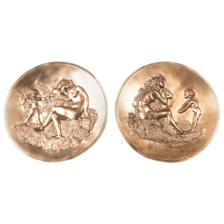 Pair of Round Cast Bronze Plaques by Aristide Croisy, France For Sale