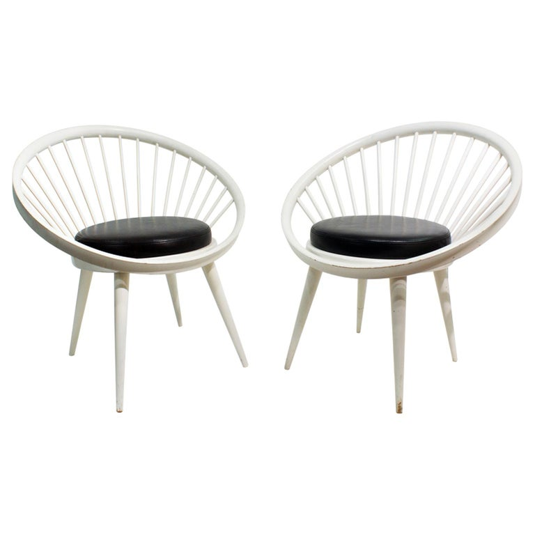 Pair of Round Chair by Yngve Ekstrom, 1960 For Sale