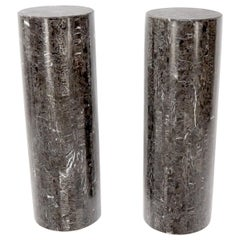 Pair of Round Cylinder Shape Tessellated Stone Tile Columns Pedestals