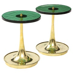 Pair of Round Emerald Green Murano Glass and Brass Martini Tables, Italy, 2021