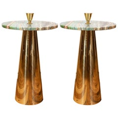 Pair of Round Emerald Green Onyx Marble and Brass Side or Martini Tables, Italy