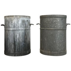 Pair of Round French Galvanized Bin Planters with Handles