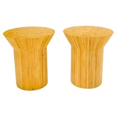 Pair of Round Funnel Shape Pencil Reed Dining Table Bases Pedestals Stands