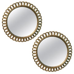Pair of Round Giltwood Mirrors with Interlocking Circles, circa 1940s-1950s