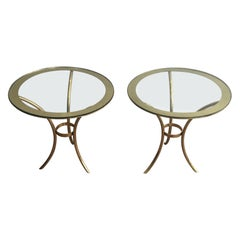 Pair of Round Gold Gilt Brass Side Tables, circa 1970