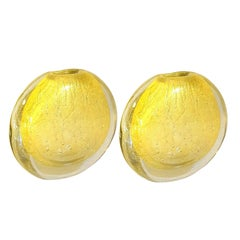 Pair of Round Gold Murano Glass Vases, by Seguso, Mid-Century Modern, 1970s