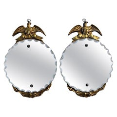 Pair of Round Gold Wood Admiral Eagle Mirrors with Beveled Edges, 1930s