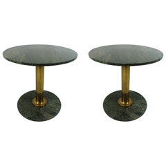 Pair of round Hollywood Regency Tables with Brass Foot and Granite Top