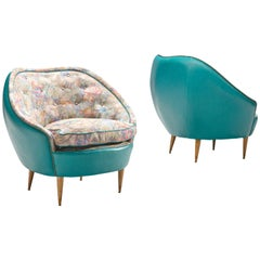 Pair of Round Italian Lounge Chairs in Colourful Upholstery