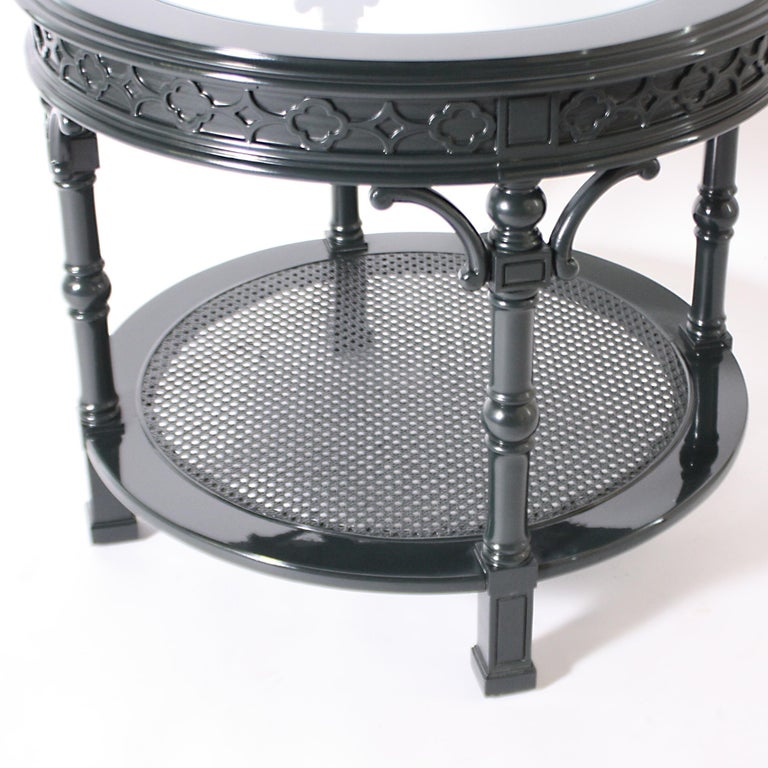 French Pair of Round Lacquered Side Tables with Glass Top Inserts, circa 1970