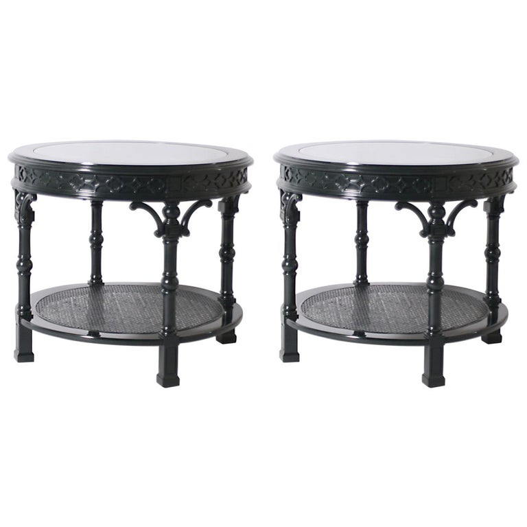 Pair of Round Lacquered Side Tables with Glass Top Inserts, circa 1970
