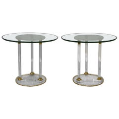 Pair of Round Lucite with Brass Side Tables, French Modern Design Tables , 1970s