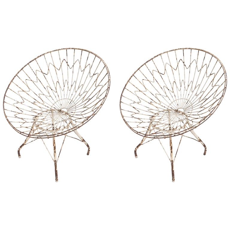 Pair of Round Metal Outdoor Garden Chairs For Sale
