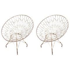 Pair of Round Metal Outdoor Garden Chairs