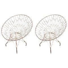 Pair of Round White Metal Outdoor Garden Chairs