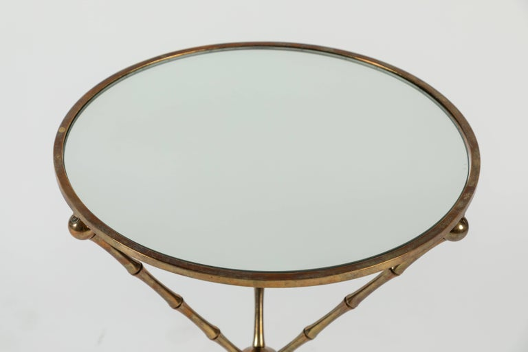 Pair Of Round Mirrored Top Side Tables With Brass Bamboo