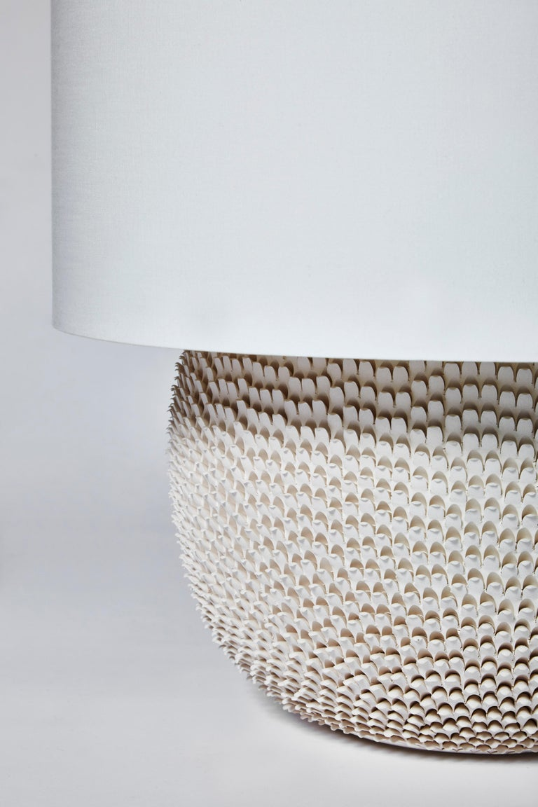 Pair of Round Modern Ceramic Table Lamps In New Condition In Saint-Ouen, IDF