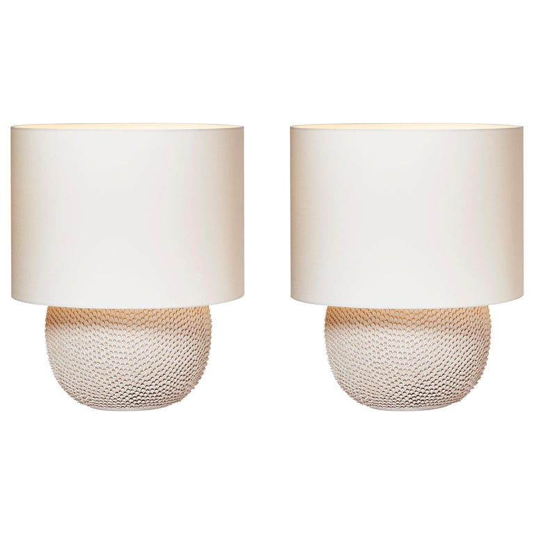 Pair of Round Modern Ceramic Table Lamps