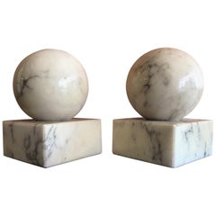 Pair of Round Modernist Solid Marble Bookends